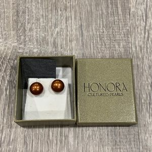 New Copper Color Honora Cultured Pearl Earrings